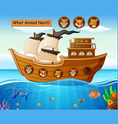 Wood boat sailing with wild animals theme vector