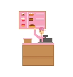 Worker In Pink Uniform With Cash Register And Cake vector