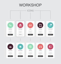 Workshop infographic 10 steps ui designmotivation vector