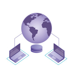 world connected laptops database server network vector image