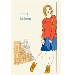 Young girl standing on the street street fashion vector