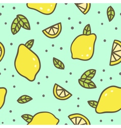 Bright lemons and leafs background vector image