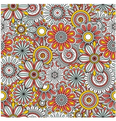 Floral background made of many doodle flowers vector image vector image