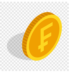 gold coin with swiss frank sign isometric icon vector image
