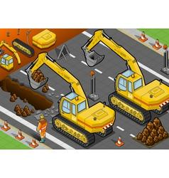 isometric yellow excavator in rear view vector image vector image