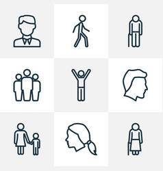 people outline icons set collection of team vector image vector image