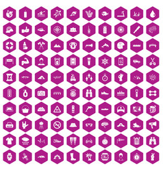 100 rafting icons hexagon violet vector