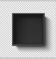 Black empty box on transparent background top vector