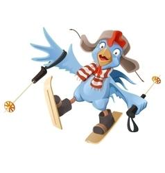 Blue Rooster symbol 2017 Cartoon Cock chicken vector image