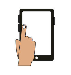 color graphic tablet tech device with hand vector image