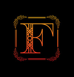 letter f with ornament vector image vector image