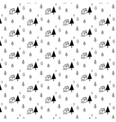 Pattern with hand drawn tree and home vector