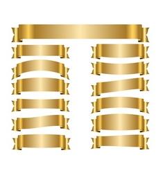 Ribbon gold banners set vector