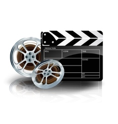 video film tape with cinema clapper and filmstrip vector image