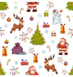 Christmas seamless pattern with Santa pine deer vector image