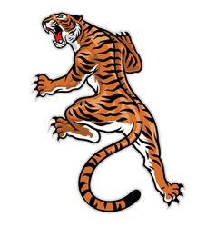 classic tattoo pose of tiger vector image