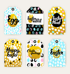 easter gold gift labels vector image vector image