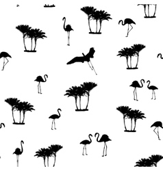 Flamingo birds tropical palm trees outline pattern vector image