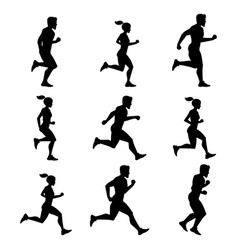 group of runners silhouettes of male and female vector image