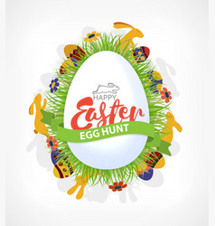 happy easter eggs hunt poster or card with rabbits vector image