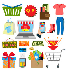 supermarket web shopping cartoon set food and vector image vector image