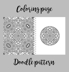 coloring page design with doodle pattern vector image vector image