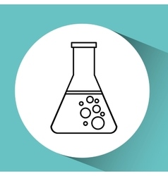 hand holding test flask chemical graphic vector image