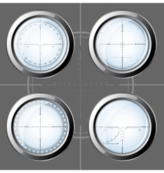 Set of sniper scopes over grey background vector image