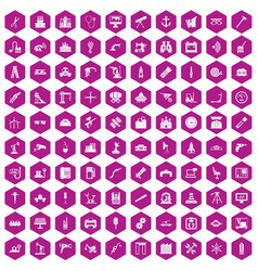 100 equipment icons hexagon violet vector