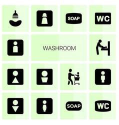 14 washroom icons vector