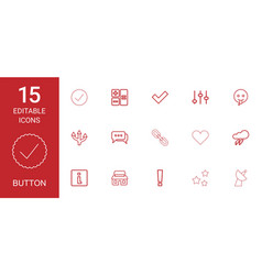 15 button icons vector image