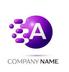 A letter splash logo purple dots circle bubble vector