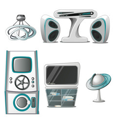 a set of interior and electronic equipment in the vector image