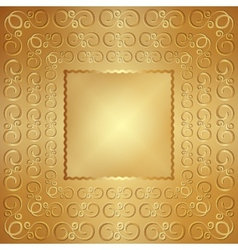 Abstract wide metal gold frame with ornament vector