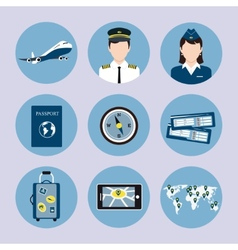 Airline Icons Set vector image
