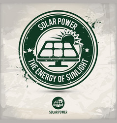 alternative solar power stamp vector image