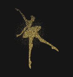 Ballet dancer girl silhouette gold glitter splash vector