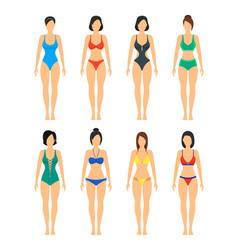 beautiful girls in color bathing suits set vector image