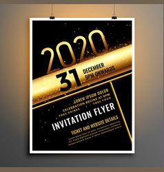 black and gold 2020 new year flyer poster template vector image