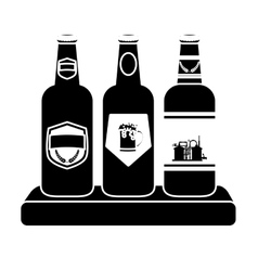 Black bottles of beer icon image vector