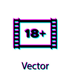 Black play video with inscription 18 plus icon vector