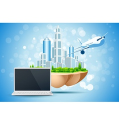 Blue Background with Business City Laptop vector image
