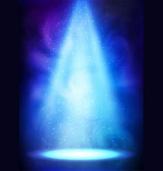 Blue magic smoky spotlight poster vector