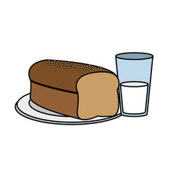 bread and glass of milk design vector image