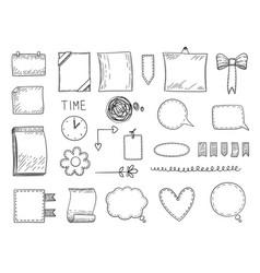 Bullet journal hand drawn frames borders vector