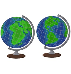 Cartoon globe two side vector