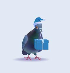 Christmas santa pigeon vector