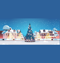 city street with decorated fir tree merry vector image