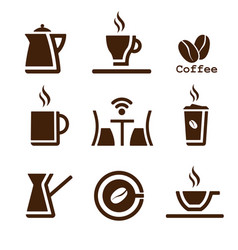 coffee brown set vector image