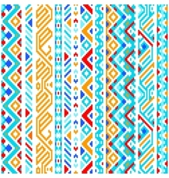 Colorful ethnic geometric aztec seamless pattern vector image